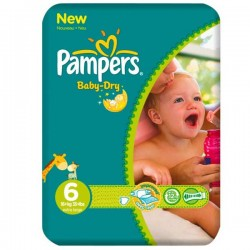 Pampers - 76 Couches Baby Dry taille 6 sur Couches Poupon