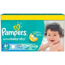Pampers - Giga pack 240 Couches Active Baby Dry taille 4+ sur Couches Poupon