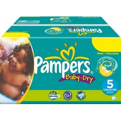 Pampers - Pack 92 Couches Baby Dry taille 5 sur Couches Poupon