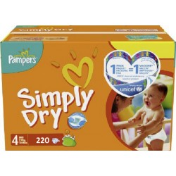 Simply Dry - 220 Couches Pampers taille 4 sur Couches Poupon