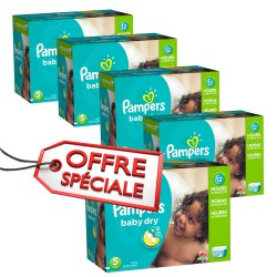Pampers - Maxi giga pack 345 Couches Baby Dry taille 5 sur Couches Poupon
