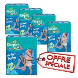 Pampers - Giga pack 264 Couches Active Baby Dry taille 6 sur Couches Poupon