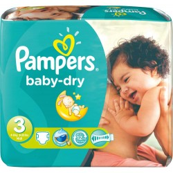 Pampers - 630 Couches Baby Dry taille 3 sur Couches Poupon