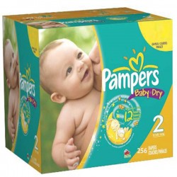 Pampers - Giga pack 264 Couches Baby Dry taille 2 sur Couches Poupon