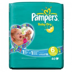 Pampers - Pack 52 Couches Baby Dry taille 6 sur Couches Poupon