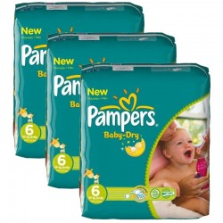 Pampers - Mega pack 104 Couches Baby Dry taille 6 sur Couches Poupon