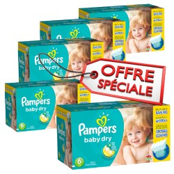 Pampers - Maxi giga pack 312 Couches Baby Dry taille 6 sur Couches Poupon