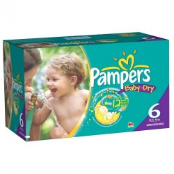 Pampers - Maxi giga pack 364 Couches Baby Dry taille 6 sur Couches Poupon