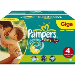 Pampers - Giga pack 234 Couches Baby Dry taille 4 taille 4 sur Couches Poupon