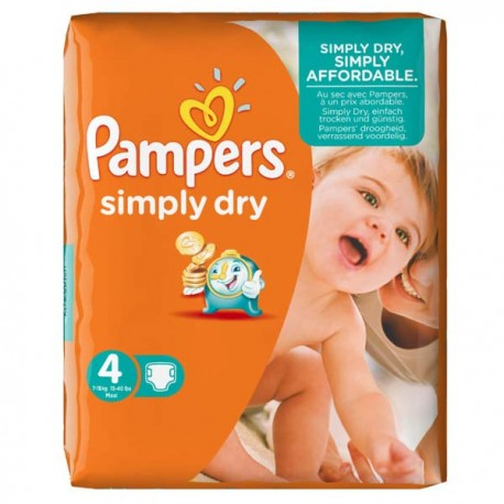 46 Couches Pampers Simply Dry Taille 4 Moins Cher Sur Couches Poupon