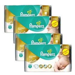 Pampers - Maxi giga pack 308 Couches New Baby Premium Care taille 1 sur Couches Poupon