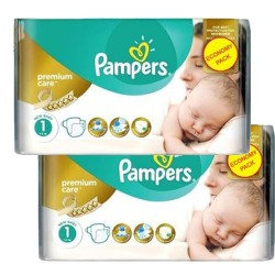 Pampers - Pack jumeaux 616 Couches New Baby Premium Care taille 1 sur Couches Poupon