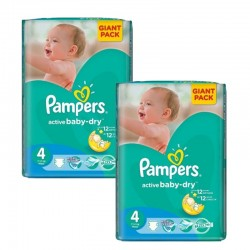Pampers - Giga pack 208 Couches Active Baby Dry taille 4 sur Couches Poupon