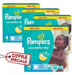 Pampers - Maxi mega pack 468 Couches Active Baby Dry taille 4 sur Couches Poupon