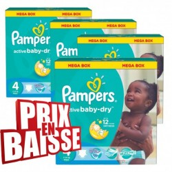 Pampers - Maxi mega pack 494 Couches Active Baby Dry taille 4 sur Couches Poupon