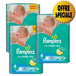Pampers - Pack jumeaux 546 Couches Active Baby Dry taille 4 sur Couches Poupon