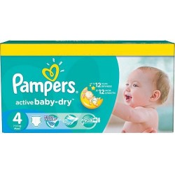 Pampers - Pack jumeaux 585 Couches Active Baby Dry taille 4 sur Couches Poupon