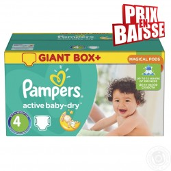 Pampers - Pack jumeaux 611 Couches Active Baby Dry taille 4 sur Couches Poupon