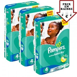 Pampers - Pack jumeaux 686 Couches Active Baby Dry taille 4 sur Couches Poupon