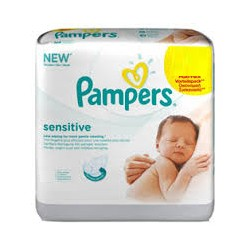 Sensitive - 12 Lingettes Bébés Pampers sur Couches Poupon