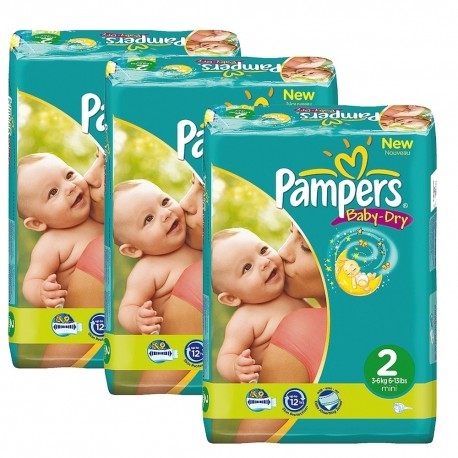 Pampers - Pack jumeaux 825 Couches Baby Dry taille 2 sur Couches Poupon