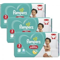 Pampers - Maxi giga pack 312 Couches Baby Dry Pants taille 3