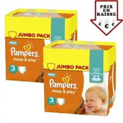 Pampers - Maxi mega pack 492 Couches Sleep & Play taille 3 sur Couches Poupon