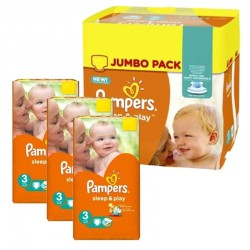 Pampers - Pack jumeaux 574 Couches Sleep & Play taille 3 sur Couches Poupon