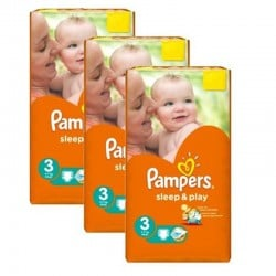 Pampers - Pack jumeaux 738 Couches Sleep & Play taille 3 sur Couches Poupon