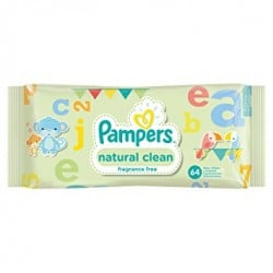 Natural Clean - 64 Lingettes Bébés de Pampers sur Couches Poupon