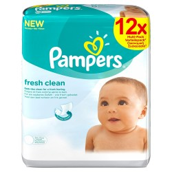 Fresh Clean - 768 Lingettes Bébés de Pampers sur Couches Poupon