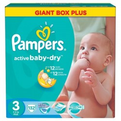 Active Baby Dry - 132 Couches Pampers taille 3 sur Couches Poupon