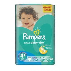 Active Baby Dry - 53 Couches Pampers taille 4+ sur Couches Poupon