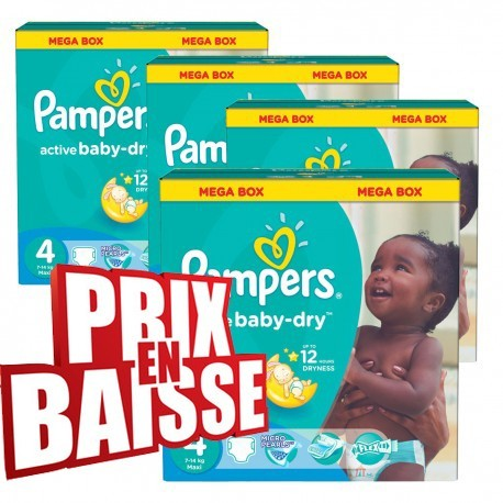 Active Baby Dry - 290 Couches Pampers taille 4 sur Couches Poupon