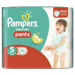 Baby Dry Pants - 24 Couches Pampers taille 5 sur Couches Poupon