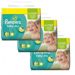 Baby Dry - 114 Couches Pampers taille 6+ sur Couches Poupon