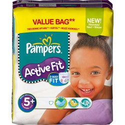 Active Fit - 58 Couches Pampers taille 5+ sur Couches Poupon