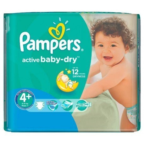 18 Couches Pampers Active Baby Dry taille 4+ sur Couches Poupon