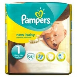 Pampers - 23 Couches New Baby Premium Protection taille 1 sur Couches Poupon