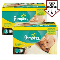 Pampers - 345 Couches New Baby Premium Protection taille 1 sur Couches Poupon