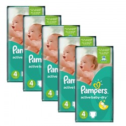 Pampers - 294 Couches Active Baby Dry taille 4 sur Couches Poupon