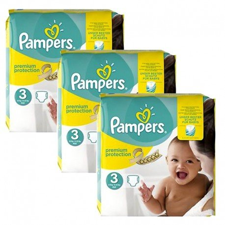 Pampers - Maxi Mega Pack 240 Couches Premium Protection - New Baby taille 3 sur Couches Poupon