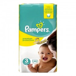 Pampers - Pack 50 Couches Premium Protection - New Baby taille 3 sur Couches Poupon