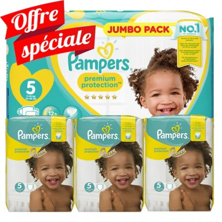 Pampers - Maxi Mega Pack 340 Couches Premium Protection - New Baby taille 5 sur Couches Poupon