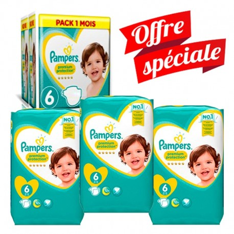 Pampers - Mega Pack 217 Couches Premium Protection - New Baby taille 6 sur Couches Poupon