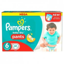 Pampers - Pack 64 Couches Baby Dry Pants taille 6 sur Couches Poupon