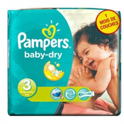 Pampers - Pack 34 Couches Baby Dry taille 3 sur Couches Poupon
