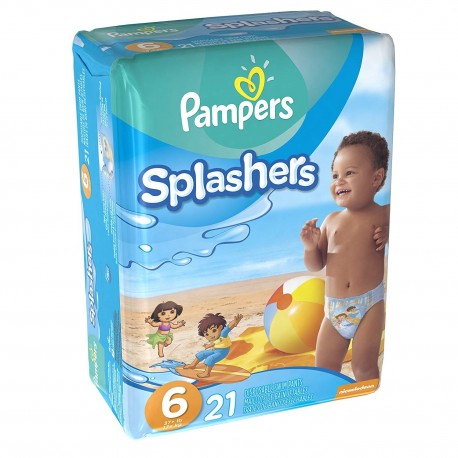 Pampers - Pack 21 Couches de bains Swimming Pants Splachers taille 6 sur Couches Poupon