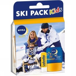 Pack Nivea Kids Ski Protection 50+ et Labello sur Couches Poupon