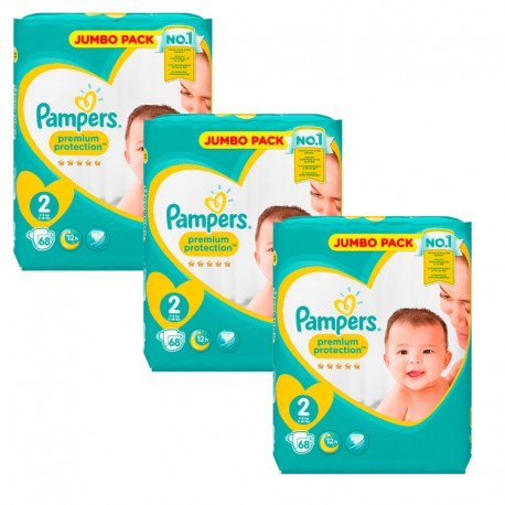 Pampers - Maxi Giga Pack 204 Couches New Baby - Premium Protection taille 2 sur Couches Poupon